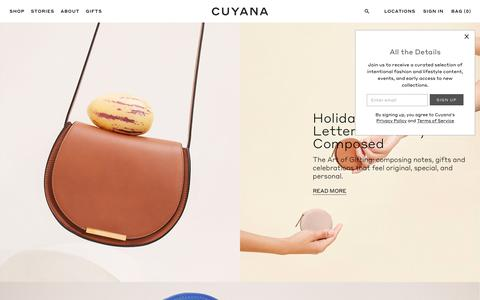 Screenshot of Home Page cuyana.com - Cuyana | Women's Premium Essentials. | Fewer, Better Things. | Cuyana - captured Nov. 7, 2018