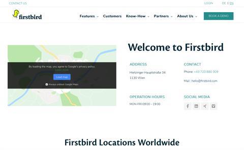 Screenshot of Contact Page firstbird.com - Contact | Firstbird - captured Dec. 11, 2019