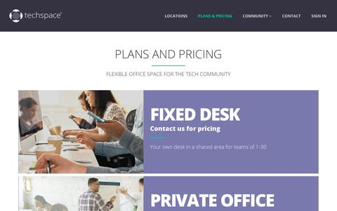 Screenshot of Pricing Page techspace.co - Plans & Pricing  – Techspace – Coworking Spaces for Tech Startups - captured Nov. 16, 2017
