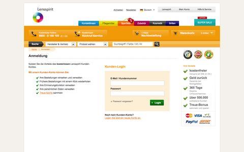 Screenshot of Login Page lensspirit.de - Anmelden bei Lensspirit - captured Nov. 27, 2016