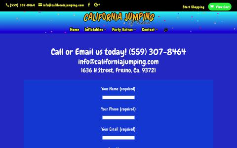 Screenshot of Contact Page californiajumping.com - Contact Us - Jumper Rentals in Fresno - California Jumping of Fresno - captured July 11, 2017