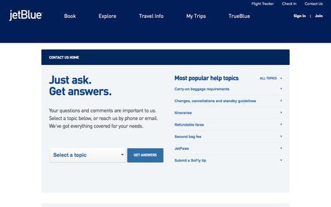 Screenshot of Contact Page jetblue.com - JetBlue   Contact us - captured May 17, 2018