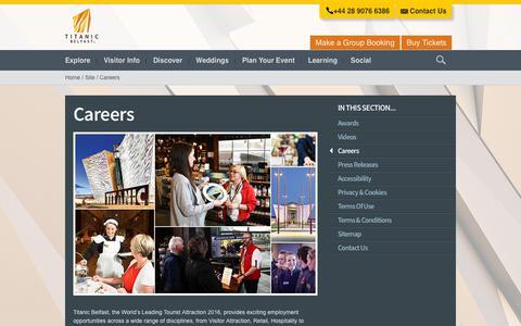 Screenshot of Jobs Page titanicbelfast.com - Careers at Titanic Belfast, Northern Ireland - Titanic Belfast - captured Sept. 21, 2018