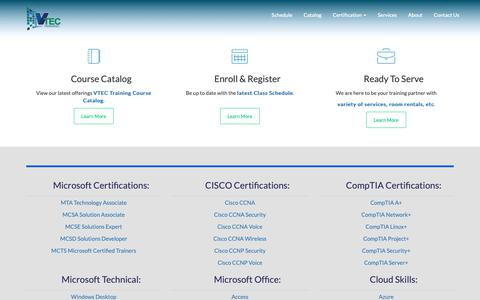 Screenshot of Home Page vtec.org - VTEC - IT and Business Training - captured Oct. 19, 2018