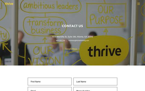 Screenshot of Contact Page thrivethinking.com - Contact Us - Thrive - captured Nov. 1, 2016