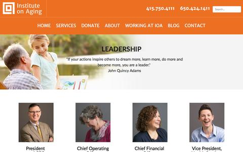 Screenshot of Team Page ioaging.org - Leadership - captured Feb. 11, 2016