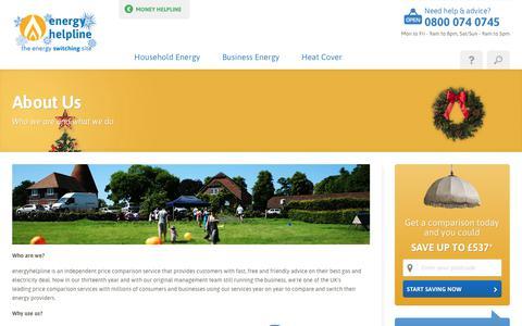Screenshot of About Page energyhelpline.com captured Dec. 17, 2017