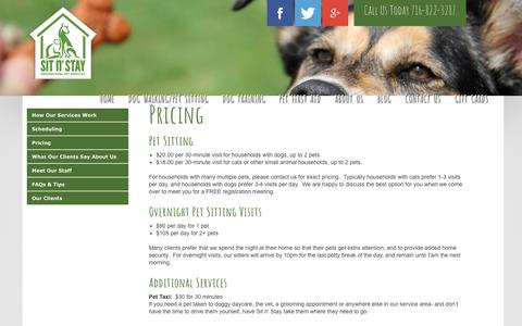 Screenshot of Pricing Page sitnstaypetservices.com - Sit n' Stay Pet Services | Buffalo NY, Dog Training, Dog Walking, Pet Sitting > Dog Walking/Pet Sitting > Pricing - captured April 24, 2017