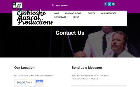 Screenshot of Contact Page e-m-p.ca - Contact – Etobicoke Musical Productions - captured Nov. 1, 2018