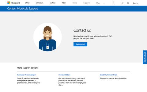 Screenshot of Contact Page microsoft.com - Contact Us – Microsoft Support - captured July 8, 2018
