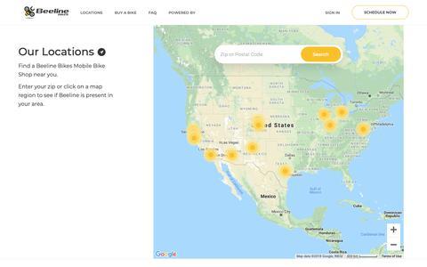 Screenshot of Locations Page beelinebikes.com - Beeline Bikes : Mobile Bike Service - captured Nov. 13, 2018