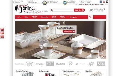 Screenshot of Home Page einfach-online.de - Geschirr & Porzellan von Ritzenhoff & Breker  - einfach-online.de - captured June 3, 2016