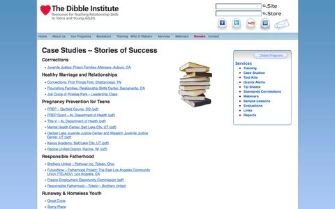 Screenshot of Case Studies Page dibbleinstitute.org - Case Studies - Stories of Success - The Dibble Institute - captured Aug. 7, 2018