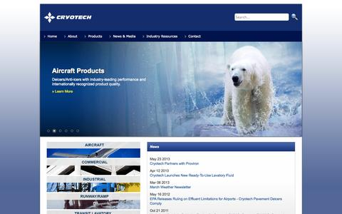 Screenshot of Home Page cryotech.com - Cryotech Deicing Technology - captured Oct. 3, 2014