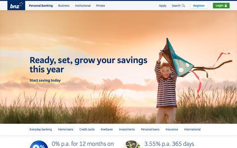 Screenshot of Home Page bnz.co.nz - Personal banking - BNZ - captured Feb. 7, 2019