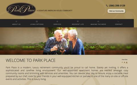 Screenshot of Home Page parkplacewarren.com - Assisted Living - Senior Assisted Living Care Facilities | Warren, MI - captured April 1, 2016