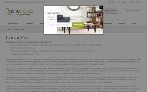 Screenshot of Terms Page vistastores.com - Terms of Use - captured Nov. 5, 2017