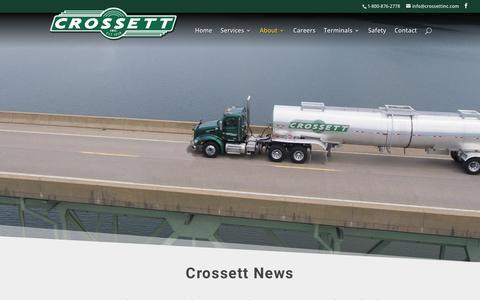 Screenshot of Press Page crossettinc.com - News   Crossett Inc. - captured Nov. 5, 2018