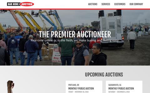 Screenshot of Home Page barnoneauction.com - Bar None Auction - The Premier Auctioneer - captured Nov. 13, 2018