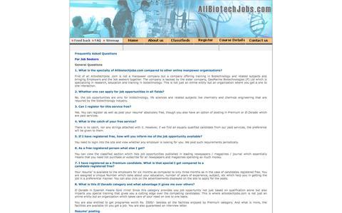 Screenshot of FAQ Page allbiotechjobs.com - Allbiotechjobs.com bringing together job seekers and job providers in Biotechnology - captured Oct. 4, 2014