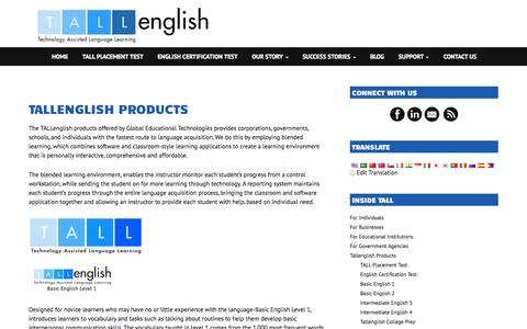 Screenshot of Products Page tallenglish.com - Tallenglish Products - Global Educational Technologies - captured Oct. 2, 2014