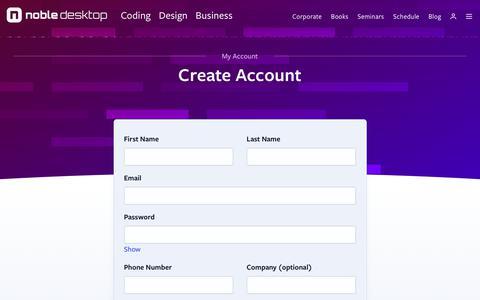 Screenshot of Signup Page nobledesktop.com - Create a Noble Desktop Account - captured April 7, 2019