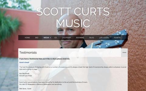 Screenshot of Testimonials Page scottcurts.com - Scott Curts Music - Testimonials - captured Feb. 4, 2016