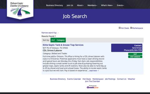 Screenshot of Jobs Page dicksoncountychamber.com - Job Search - Dickson County Chamber of Commerce, TN - captured Oct. 12, 2017