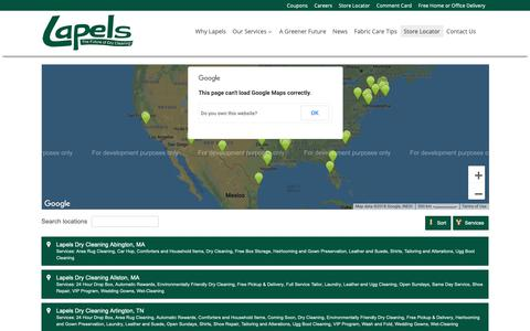Screenshot of Locations Page mylapels.com - Store Locator - Lapels Dry Cleaning - captured Sept. 27, 2018
