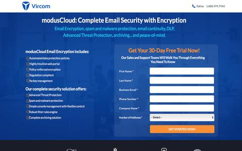 Screenshot of Landing Page vircom.com - Complete Email Security with Email Encryption - captured May 9, 2017
