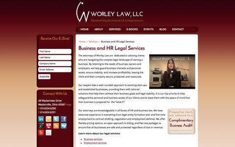 Screenshot of Services Page worleylawllc.com - Business and HR Legal Services - captured Aug. 19, 2016