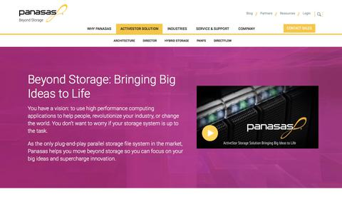 Screenshot of Products Page panasas.com - Panasas ActiveStor Data Storage Solutions | Panasas - captured July 12, 2018