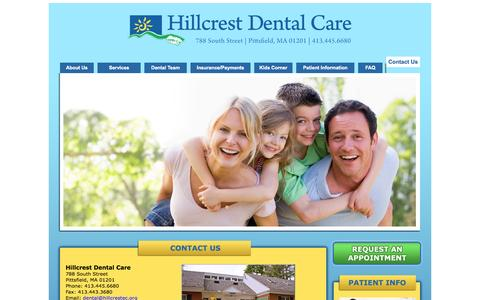 Screenshot of Contact Page Maps & Directions Page Hours Page caphs.com - Contact Hillcrest Dental Care Pittsfield, MA, Dentists Pittsfield, MA, General Family Dentistry, Dentists In The Berkshires, Dentists In Berkshire County, Pittsfield, MA - captured Oct. 1, 2014