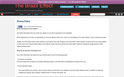 Screenshot of Privacy Page thebrazileffect.com - Privacy Policy - The Brazil Effect - captured Oct. 1, 2014