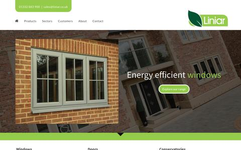 Screenshot of Home Page liniar.co.uk - Liniar uPVC Windows, Doors, Conservatories, Decking, Piling - captured July 20, 2018