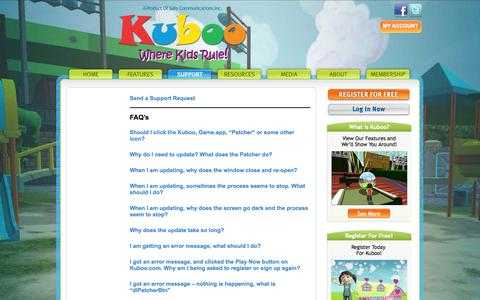 Screenshot of Contact Page Support Page kuboo.com - Kuboo - Where Kids Rule! - Support - captured Oct. 22, 2014