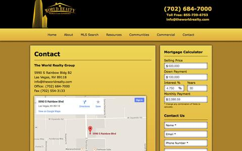 Screenshot of Contact Page theworldrealty.com - Contact Us To Set Up a Viewing | World Realty of Las Vegas | (702) 684-7000 - captured Oct. 26, 2014