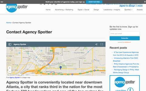 Screenshot of Contact Page agencyspotter.com - Contact Agency Spotter for Creative Agency Search - captured Dec. 4, 2015
