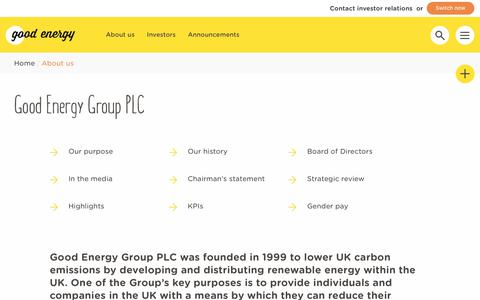 Screenshot of About Page goodenergy.co.uk - Good Energy Group PLC | Good Energy LTD - captured June 12, 2018