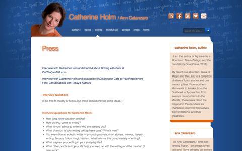 Screenshot of Press Page catherineholm.com - Press | Catherine Holm - captured Sept. 29, 2014