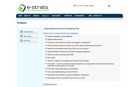 Screenshot of Products Page estratcom.com - E Commerce Hosting and Shopping Carts: Web Services - captured Oct. 1, 2014