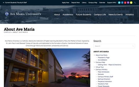 Screenshot of About Page avemaria.edu - About Ave Maria | Ave Maria University - captured Nov. 14, 2015