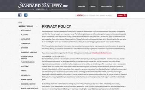 Screenshot of Privacy Page standardbatteryinc.com - Privacy Policy – Standard Battery - captured Oct. 7, 2014