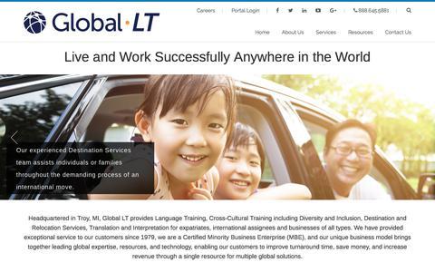 Screenshot of Home Page global-lt.com - Global LT Corporate Language Cultural Expatriate Services - captured July 19, 2018