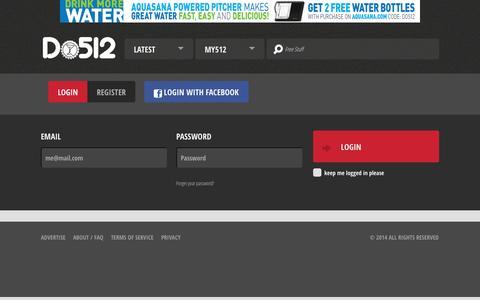 Screenshot of Login Page do512.com - Austin Events, Music, Art, Drink Specials & More - captured Sept. 23, 2014