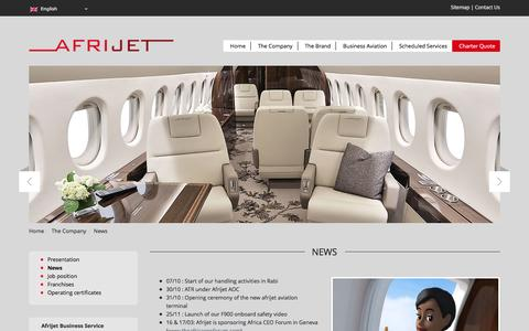 Screenshot of Press Page afrijet.com - News - AFRIJET BUSINESS SERVICE - captured Feb. 5, 2016