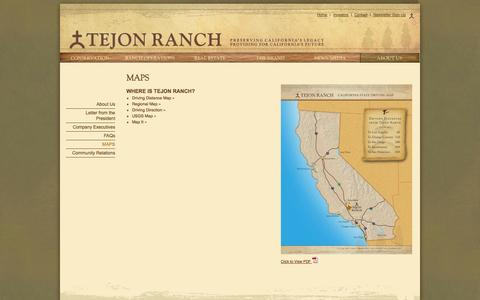 Screenshot of Maps & Directions Page tejonranch.com - Maps | Tejon Ranch - captured Oct. 7, 2014
