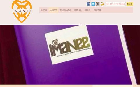 Screenshot of About Page imanee.org - About - IMANEE - captured Oct. 3, 2014