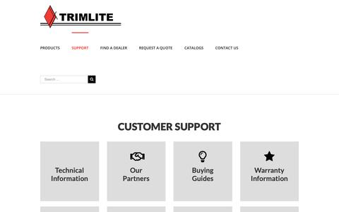 Screenshot of Support Page trimlite.com - Customer Support - Trimlite - captured Oct. 20, 2018