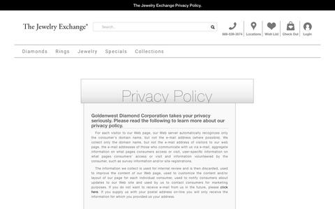 Screenshot of Privacy Page jewelryexchange.com - Privacy Policy - captured May 27, 2019
